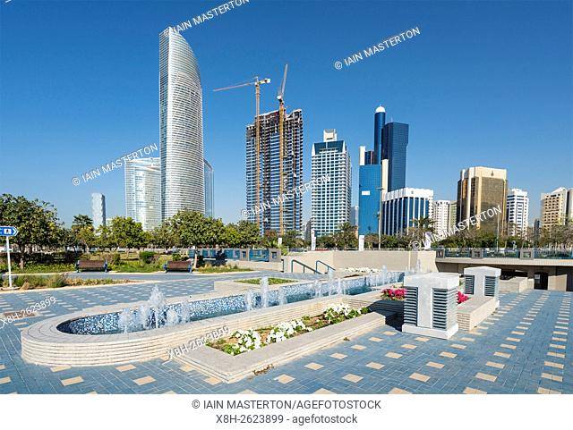 Skyline of modern business district along the Corniche in Abu Dhabi United Arab Emirates
