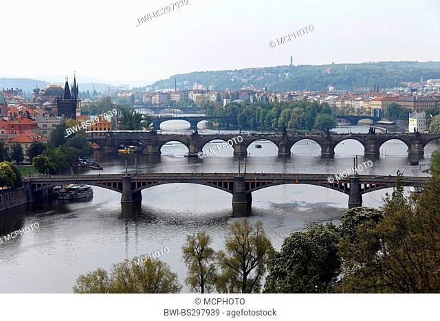 bridges over the Vltava river, Czech Republic, Prague