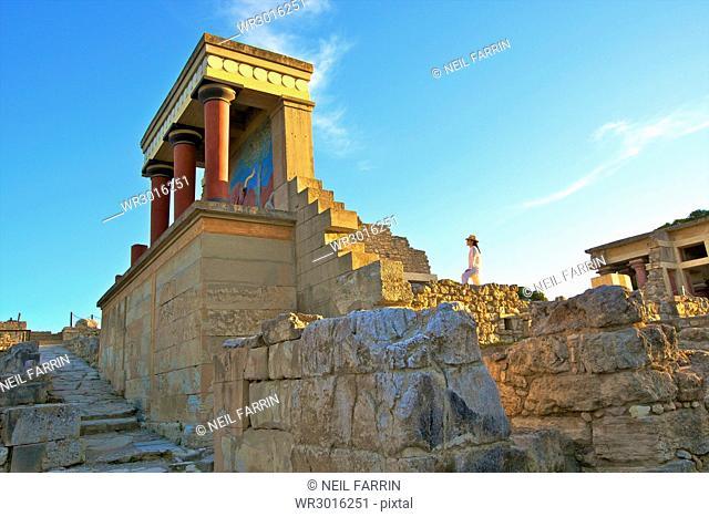 The Minoan Palace of Knossos, Knossos, Heraklion, Crete, Greek Islands, Greece, Europe