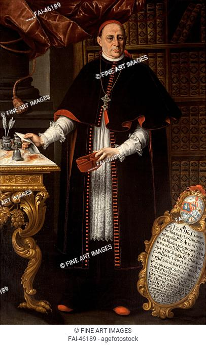 Portrait of cardinal Gaspar de Molina y Oviedo (1679-1744) by Tovar, Alonso Miguel de (1678-1758)/Oil on canvas/Baroque/First third of 18th cen