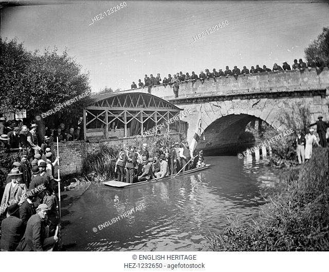 Annual Beating the Bounds ceremony, Botley Bridge, Oxford, Oxfordshire, 1892. A group on the river by the bridge during the annual Beating the Bounds ceremony -...
