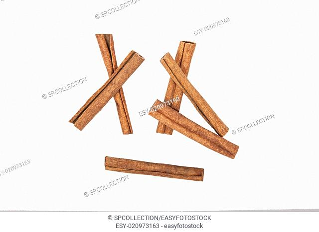 A few cinnamon sticks isolated