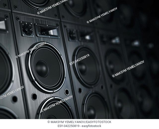 Multimedia acoustic sound speaker system. Music concept background. 3d illustration