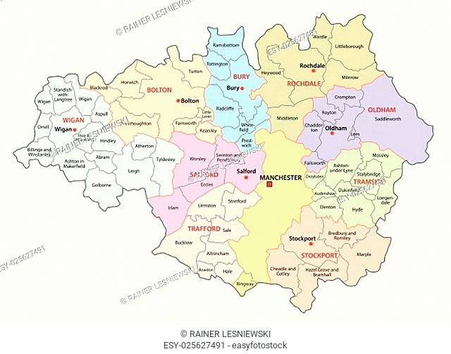 greater manchester administrative and district vector map