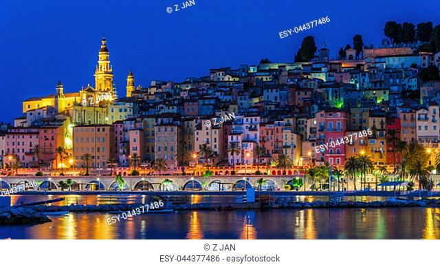 Old town architecture of Menton on French Riviera by night