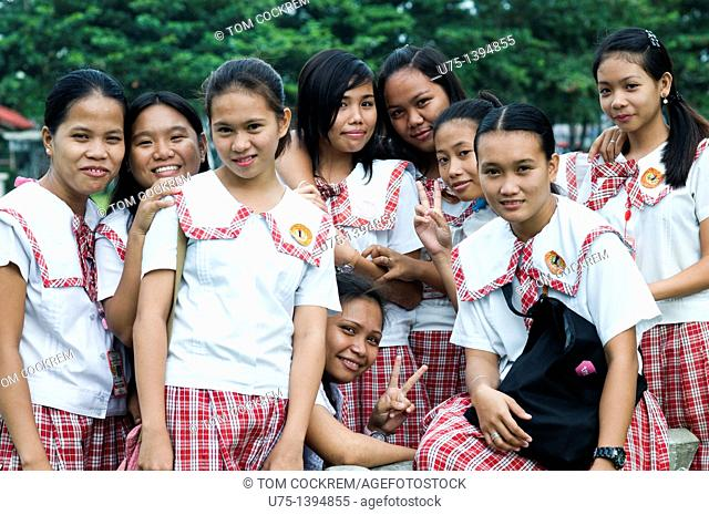School girls, La Paz Plaza, Iloilo, Panay, Philippines