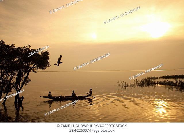 Sunset in Tanguar Howr in Bangladesh