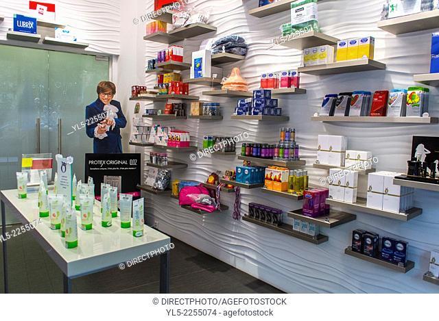 Paris, France, Shopping, Condoms, Sex Accessories Shop, 'Le Roi de la Capote' Oberkampf Area. Inside View