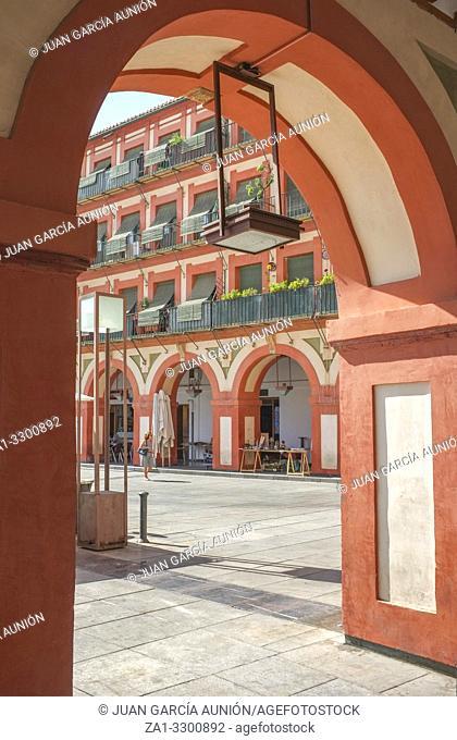 Grand 17th-century Corredera Square, Cordoba, Spain. View from arcades