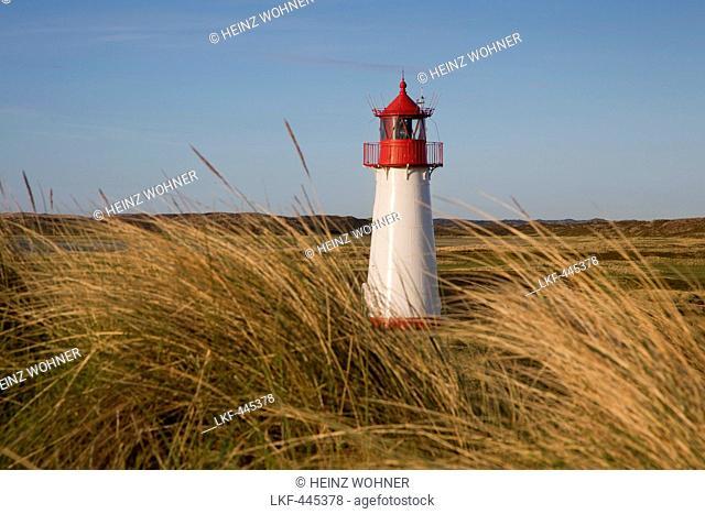 List West lighthouse, Ellenbogen peninsula, Sylt island, North Sea, North Friesland, Schleswig-Holstein, Germany