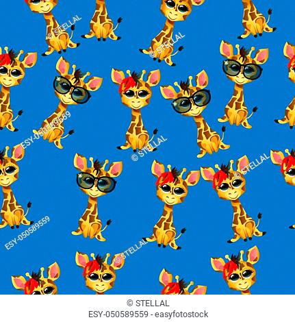 Very high quality original trendy vector seamless pattern with cute giraffe baby or calf with glasses