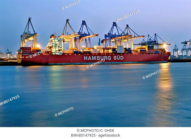 container ship at the terminal Burchardkai, Germany, Hamburg