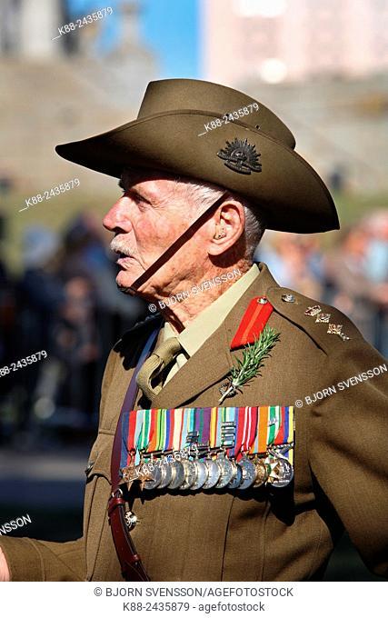 Veterans march in the annual ANZAC parade (25 April). Melbourne, Victoria, Australia