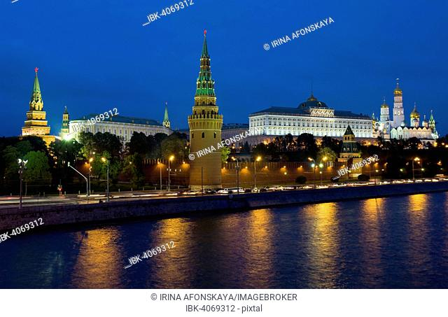 Moscow Kremlin with palace and cathedrals on Moskva River at night, Moscow, Russia