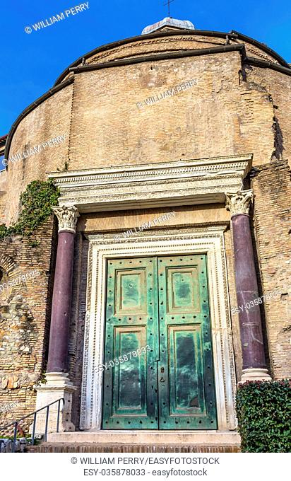 Temple of Romulus Door Roman Forum Rome Italy. Since 6th Century Temple has been entrance to Santa Cosma church