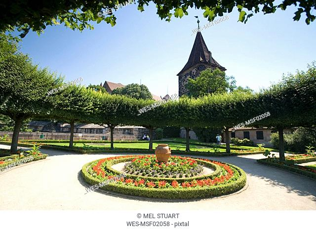 Germany, Nuremberg, Garden of the Emperor's Castle