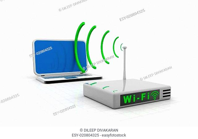 Home wifi network. Internet via router on laptop