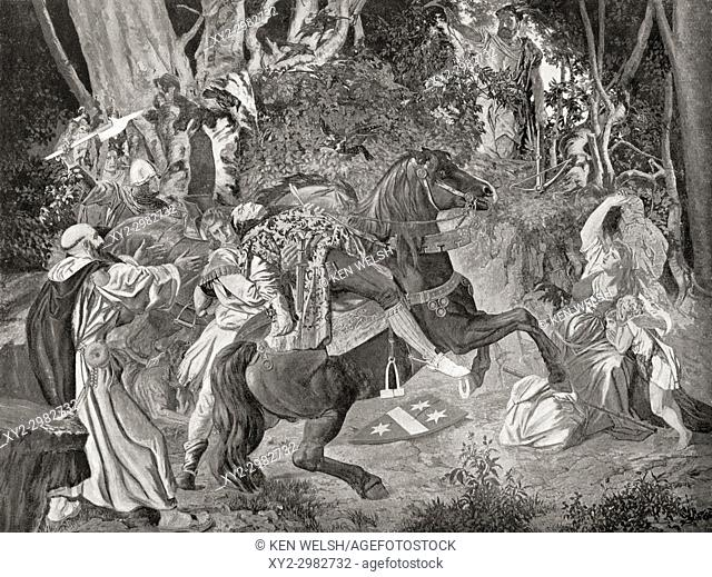 The murder of Albrecht Gessler by William Tell. Albrecht Gessler, aka Hermann. Legendary 14th-century Habsburg bailiff whose brutal rule led to the William Tell...