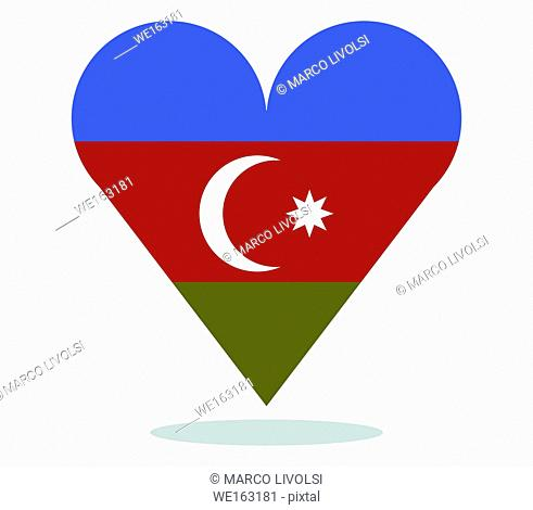 azerbijan flag with heart