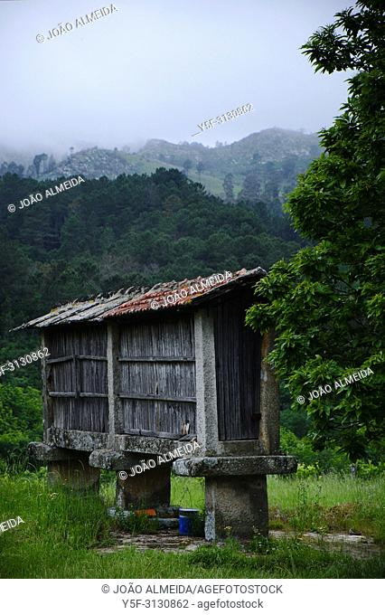 """An old """"""""espigueiro"""""""" , a small granary used to save cereal"""