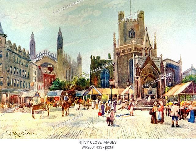 This painting of Market square in Cambridge, England, dates to before 1907. It represents what is called Half Market, a Wednesday ritual