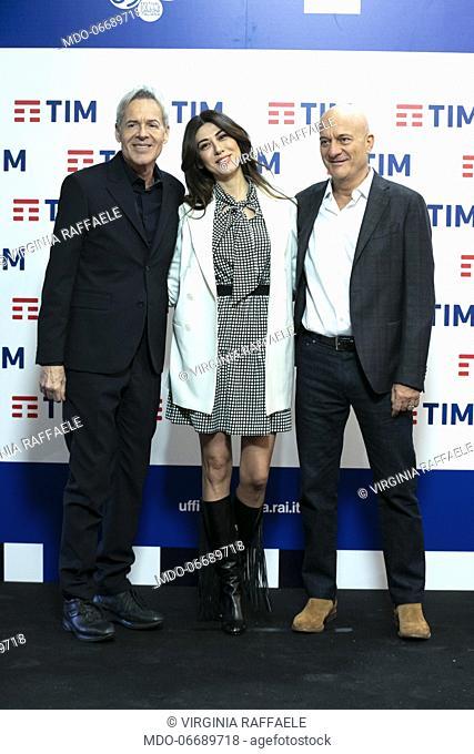 Italian singer and presenter Claudio Baglioni, Italian comedian and presenter Virginia Raffaele, Italian comedian nad presenter Claudio Bisio in the Press Room...