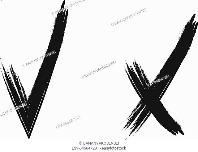 Vector Tick and Cross Icons, Black Scribble Lines Isolated on White Background, Black and White Illustration