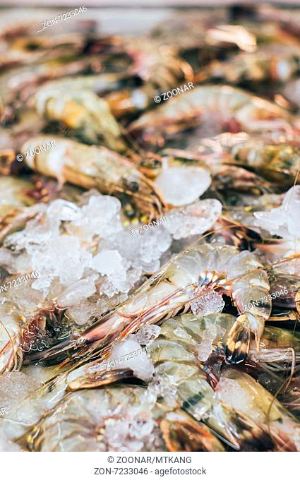 Fresh prawn on ice sold in Thailand wet market