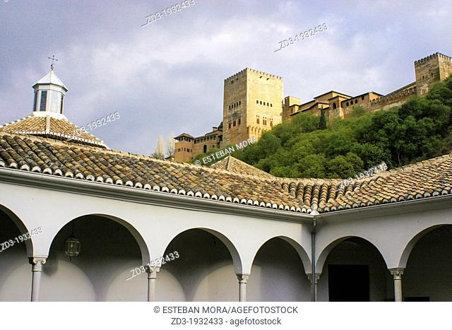 Alhambra view from the Archaeological Museum of Granada, Andalusia, Spain