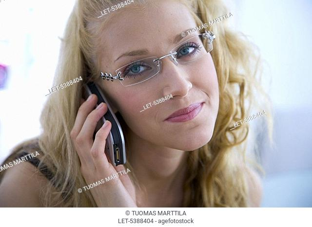 Woman with cell phone  Glasses