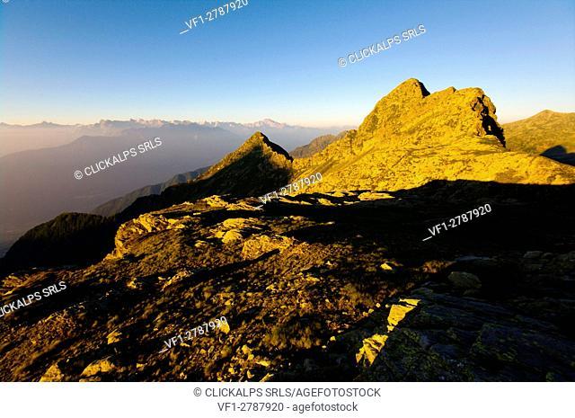 Summer sunset, Pizzo Stevallo, Pim Pum, Val Lesina, Orobie, Valtellina, Lombardy, Italy