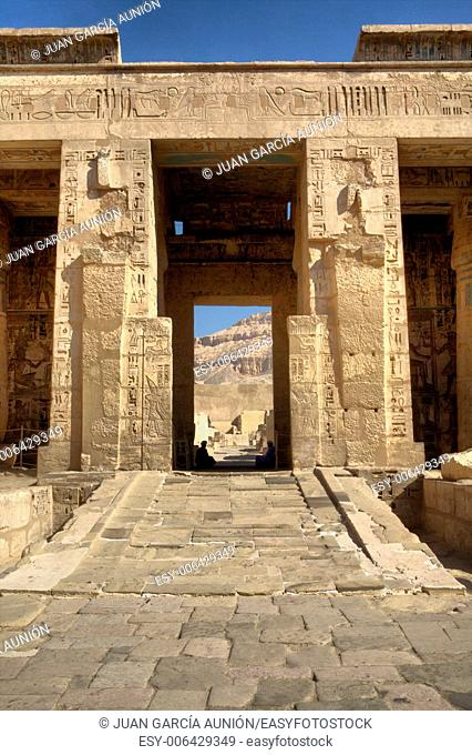 Temple of Medinet Habu, dedicated to Ramesses III, on the West bank of the Nile at Luxor, Egypt