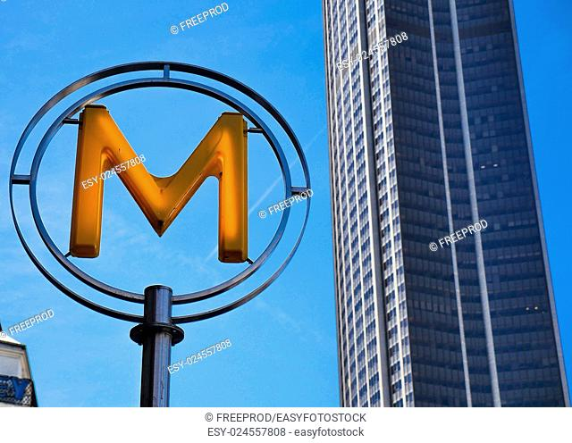 Paris, France - Modern metro station sign. Subway train entrance