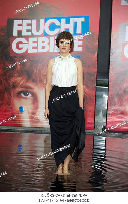 Swiss actress Carla Juri arrives to the premiere of the movie 'Feuchtgebiete' ('Wetlands') at Cinestar cinemas at Potsdamer Platz in Berlin, Germany