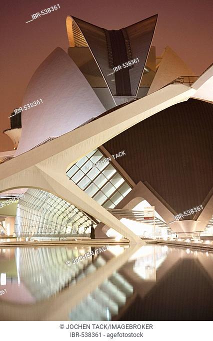 ESP, Spain, Valencia : Ciudad de las Artes Y de las Ciencias, City of arts and sciences. L'Hemisferic and Palau de les Arts Reina Sofia