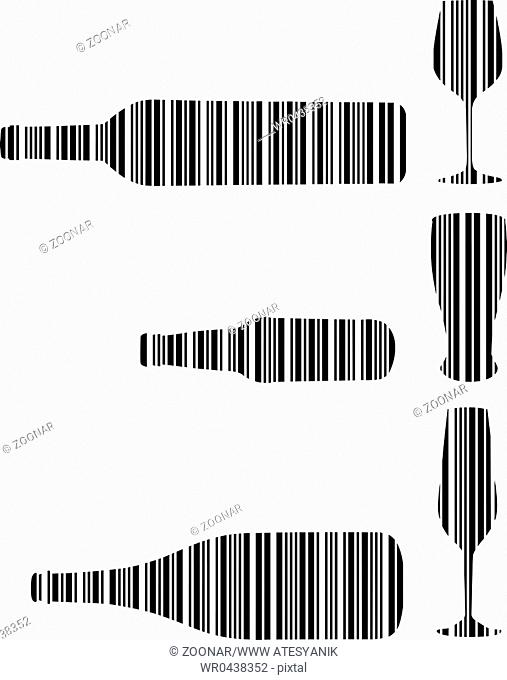 Barcode Drink bottle and glasses