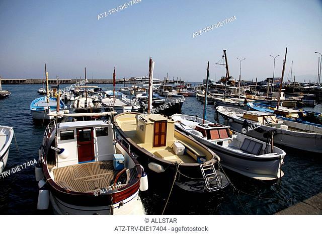 FISHING BOATS IN HARBOUR; MARINA GRANDE, ISLAND OF CAPRI, ITALY; 17/09/2011
