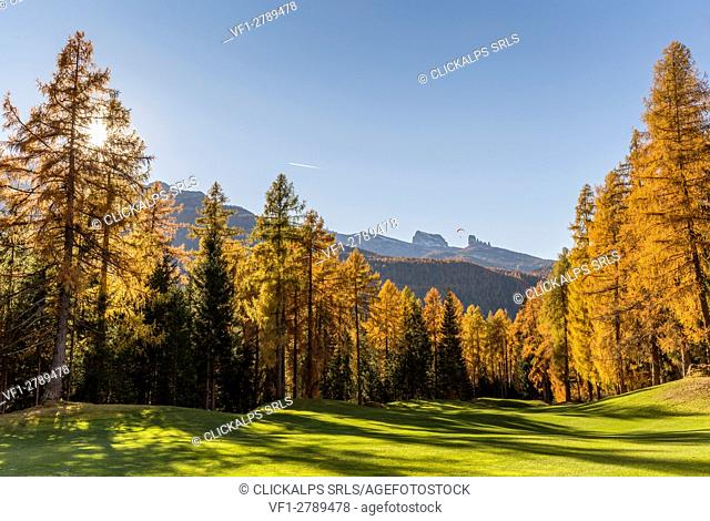 Sunny day in the Dolomites,Cortina d'Ampezzo,Belluno district,Veneto,Italy,Europe