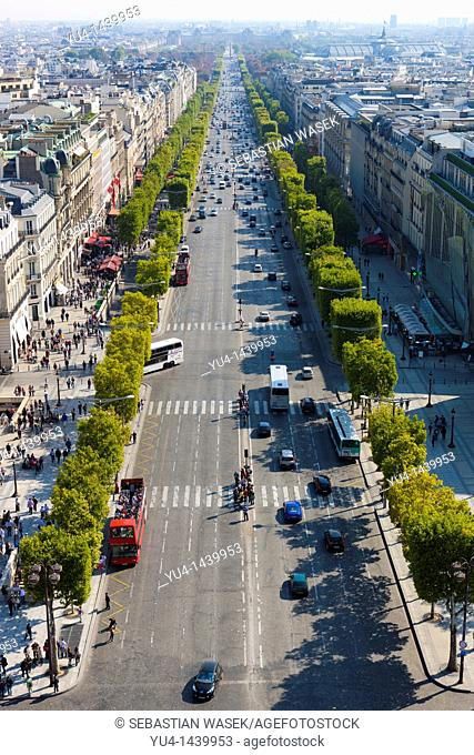 View from the Arc de Triomphe over the Avenues des Champs-Elysees, Paris, France, Europe