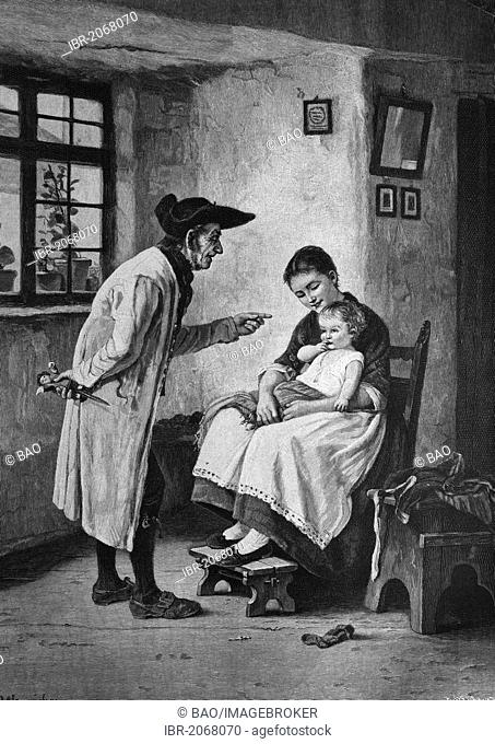 Historical engraving, father has bought child a toy from the fairground, 1888