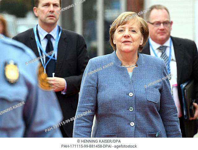 The German Chancellor Angela Merkel arrives at the World Climate Conference in Bonn, Germany, 15 November 2017. Photo: Henning Kaiser/dpa