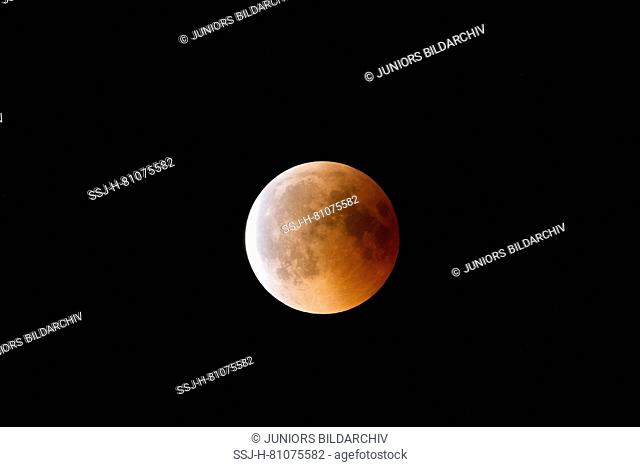Total lunar eclipse on July 27, 2018, also called blood moon. Schleswig-Holstein, Germany