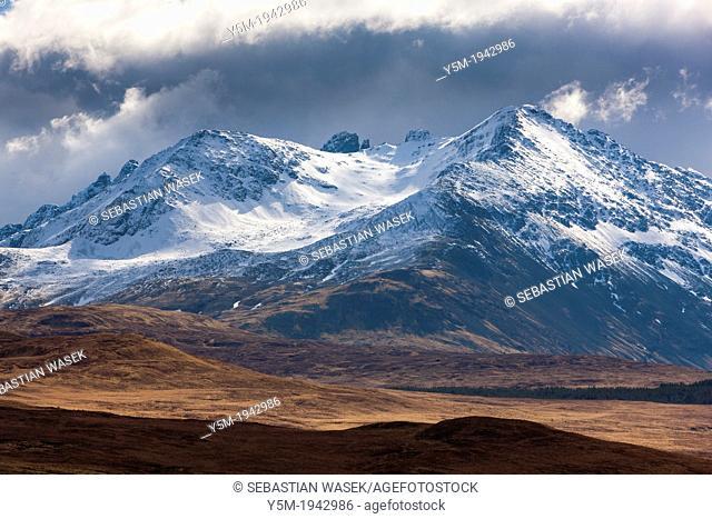 A view towards Sgurr nan Gillean, Black Cuillins range, Isle of Skye, Inner Hebrides, Scotland, United Kingdom, Europe
