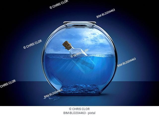 Message in a bottle in fishbowl