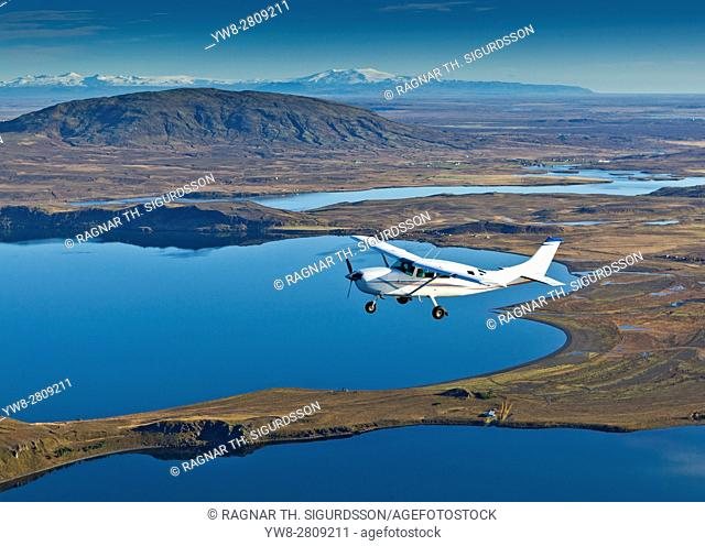 Cessna flying over South Coast Iceland