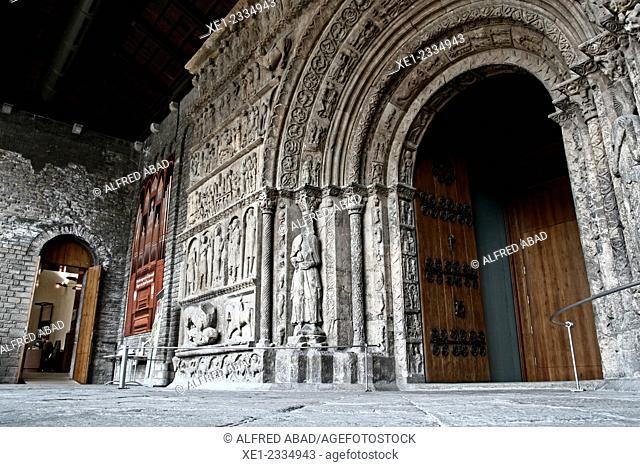 12th century portal of the church, Monastery of Santa Maria, Ripoll, Catalonia, Spain