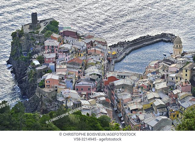 Italy, Liguria, Cinque Terre National Park, World Heritage Site, Vernazza from above