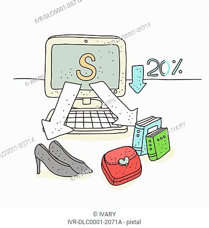 Illustration of shopping through computer