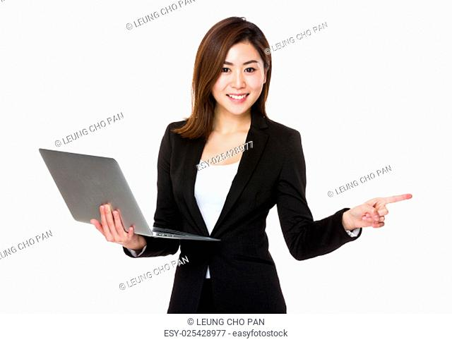 Businesswoman hold with laptop and finger up