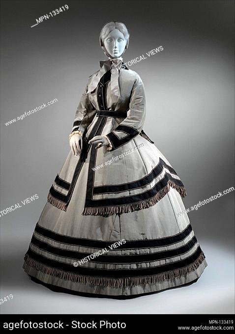 Wedding ensemble. Date: 1868; Culture: American; Medium: (a-c) silk/wool; Credit Line: Gift of Mrs. Francis Howard and Mrs
